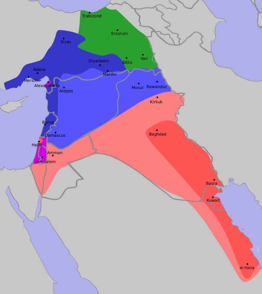 Zones d'influence et de contrôle : française (bleu), britannique (rouge) et russe (vert).