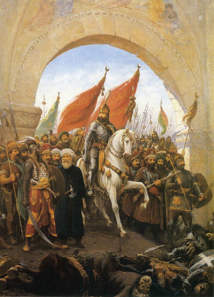 rrivée de Mehmed II Le Conquérent à Constantinople, par Fausto Zonaro, fin XIXe