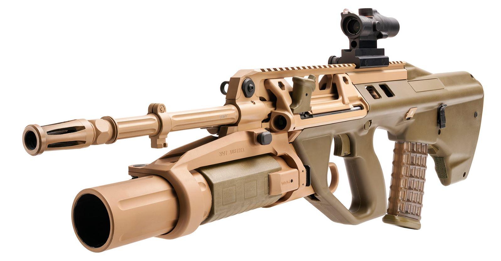 F90 (5.56) de Thales avec lance-grenade. Existe aussi en canon court.